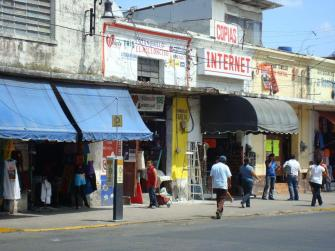 Storefronts on a street in Mexico